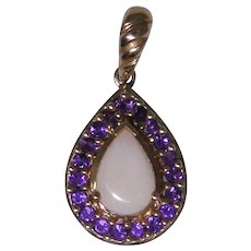 14kt gold Amethyst and Pink Opal pendant