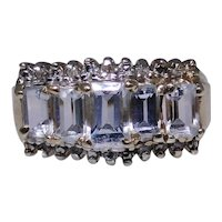 14kt gold Aquamarine with diamond ring size: 7.25