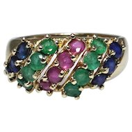 Vintage 14kt gold ring set with Emeralds, Rubies, and Sapphires, excellent vintage condition