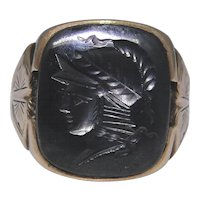 Man's ring, hematite intaglio of a warrior, size 9.50, very good condition, 10kt gold