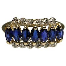 Vintage marquise Sapphire ring with small diamonds, size: 7, very good estate condition