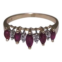 Vintage stackable marquise Ruby ring, 14kt gold, cathedral style