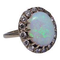 Natural Opal and diamond ring, 14kt yellow gold, professional appraisal attached