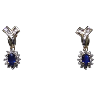 10kt gold dangle diamond and synthetic Sapphire earrings, nice vintage condition