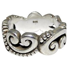 Heavier sterling silver scroll ring, size 9.0 excellent condition