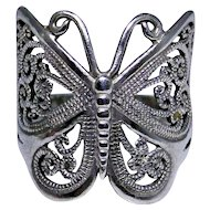 Vintage sterling silver butterfly ring, size 11.0, excellent vintage condition