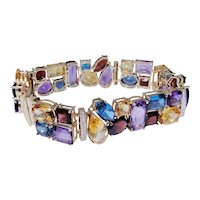 Amazing multi color fashion bracelet 14kt gold with diamond spacers