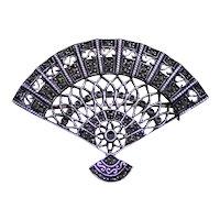 Sterling silver fan brooch or pendant marcasite