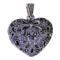 Vintage sterling silver heart locket with Marcasite