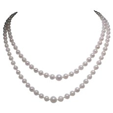 Classic cultured pearl necklace with 14kt gold clasp