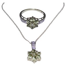 Lovely Peridot and diamond pendant ring set, 10kt gold
