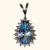 Blue Topaz diamond pendant 10kt gold, estate piece