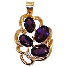 Vintage Amethyst and diamond pendant, 14kt gold
