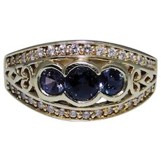 18kt gold fine ring with diamonds and synthetic Alexandrite gems, size 7.75