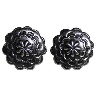 Vintage Floral style sterling silver earrings