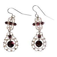 Estate filigree earrings, high quality Garnets, 10kt gold