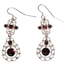 Estate filigree earrings, high quality Garnets, 10kt gold
