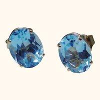 Oval Blue Topaz stud earrings, 14kt gold settings