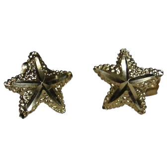 Starfish earrings, 14kt gold, post backs, excellent estate condition