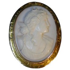 Vintage shell cameo pin convertible pendant, great detail
