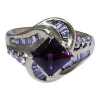 Estate 14kt gold ring with Rhodolite Garnet and diamonds size 6