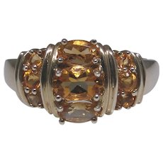 Lovely unusual 10kt gold faceted Citrine gemstone ring, size: 7
