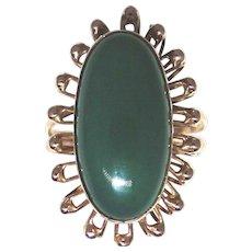 Vintage 14kt rose gold Chrysophrase gem ring size: 6.50