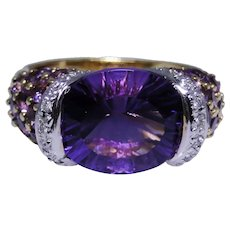 Bellarri Amethyst 18kt gold ring with diamonds