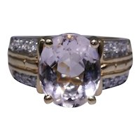 Estate 14kt gold ring with pink Morganite gemstone and diamonds, size: 5