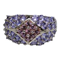 Lovely Tanzanite and pink Tourmaline dome ring, 14kt gold size:8