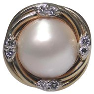 Vintage Mabe Pearl ring, 14kt gold with accent diamonds, excellent condition, size 6.50