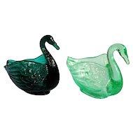 2 Fenton Swan trinket dishes, dark teal, green opalescent