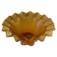 Fenton Autumn Gold compote, pulled iridescent glass with foil sticker
