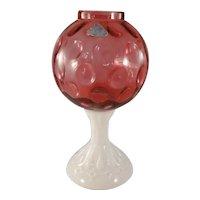 Vintage Fenton bowl on pedestal, foil sticker