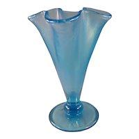 Fenton Celeste blue vase with original tags