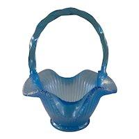 Fenton celeste stretch glass basket
