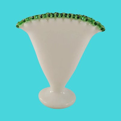 Fenton milk glass vase with emerald crest