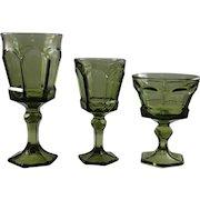 3 glasses Fostoria Virginia pattern, moss green color