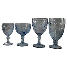 Set of four Fostoria blue Moonstone pattern vintage stemware
