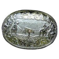 Vintage Crumrine fancy western belt buckle, gold plated, calf roping event
