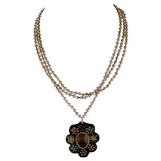 BOHO style freshwater pearl necklace signed CL