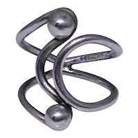 Sterling silver modernist Mexican ring size: 7