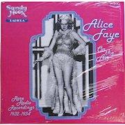 Vintage vinyl album by Alice Faye, Rare Radio Recordings 1932-1934 issued in 1979