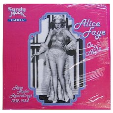 Vintage vinyl album by Alice Faye, Rare Radio Recordings 1932-1934 issued in 1979