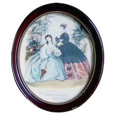 Very vintage oval picture with La Mode Illustree print from Paris