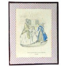"Old print ""Godey's Americanized Paris Fashions 1848"" in folk art frame"