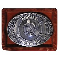 Vintage brass belt buckle, Frenchie Burke, Delta records, new old stock
