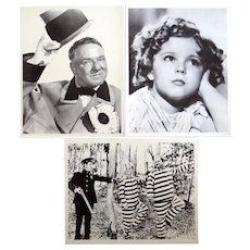 Three 8x10 movie stills, W.C. Fields, Laurel and Hardy, Shirley Temple