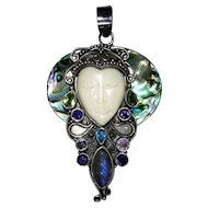 Vintage ornate sterling silver pendant with Abalone