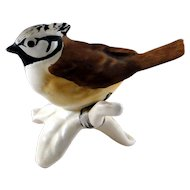 Vintage Goebel bird figurine, Crested Tit, in excellent condition